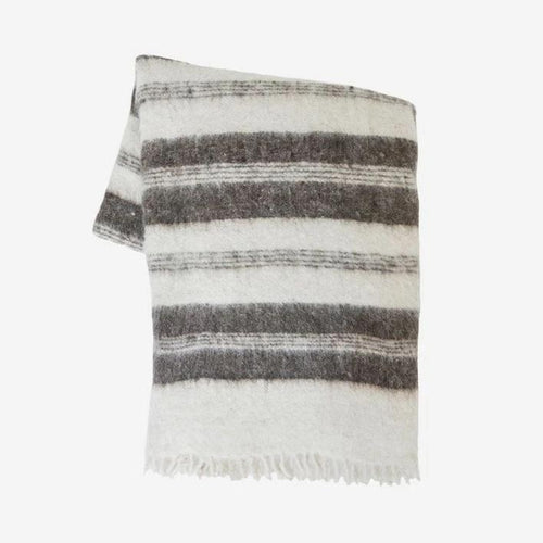 Grey Raya Guatemalan Striped Wool Blanket