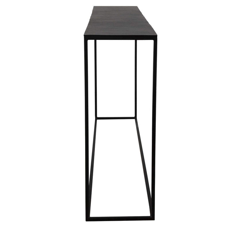 25083 Uttermost Coreene Console Table Large 62 inch long skinny narrow black console open thin metal slate stone top console entryway entrance modern simple angle