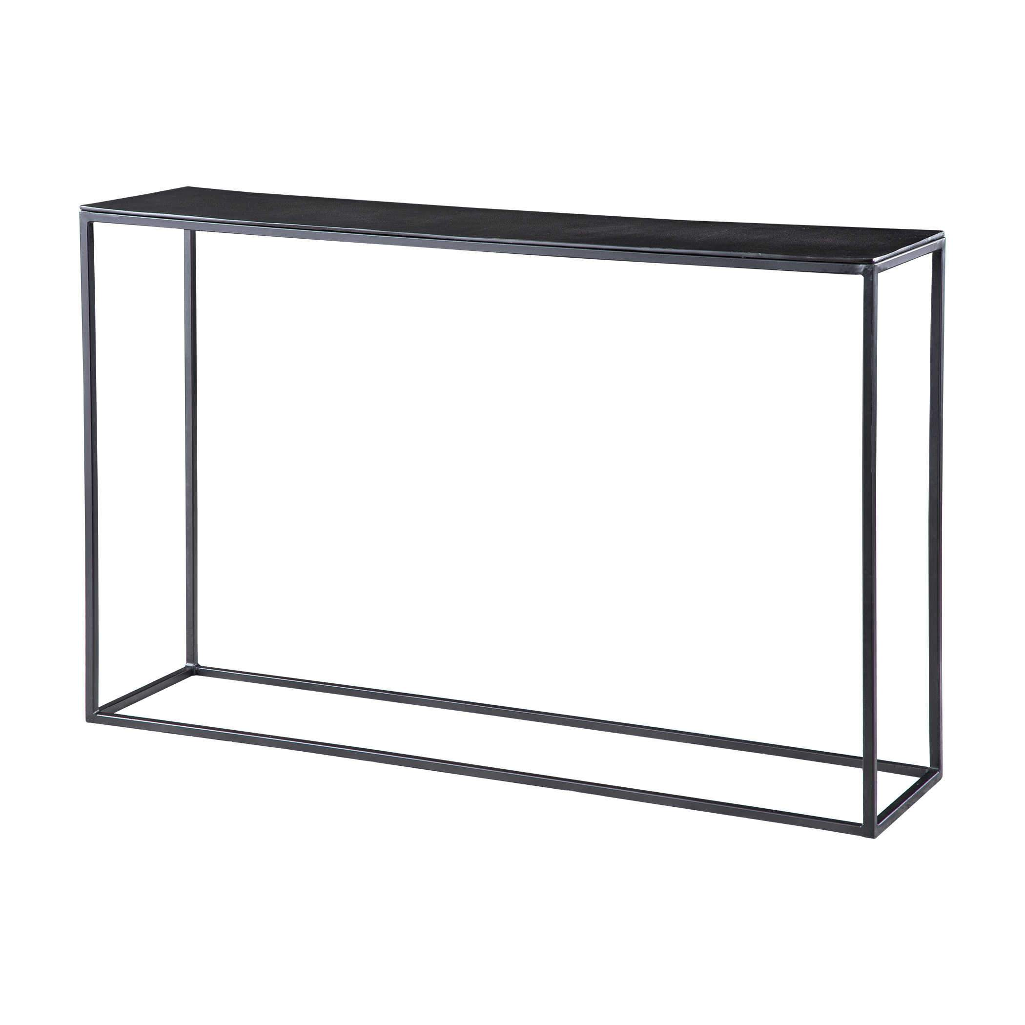 25051 Coreene Console Table Small Uttermost Short black iron metal console table narrow sleek plain modern entry table sofa table thin metal