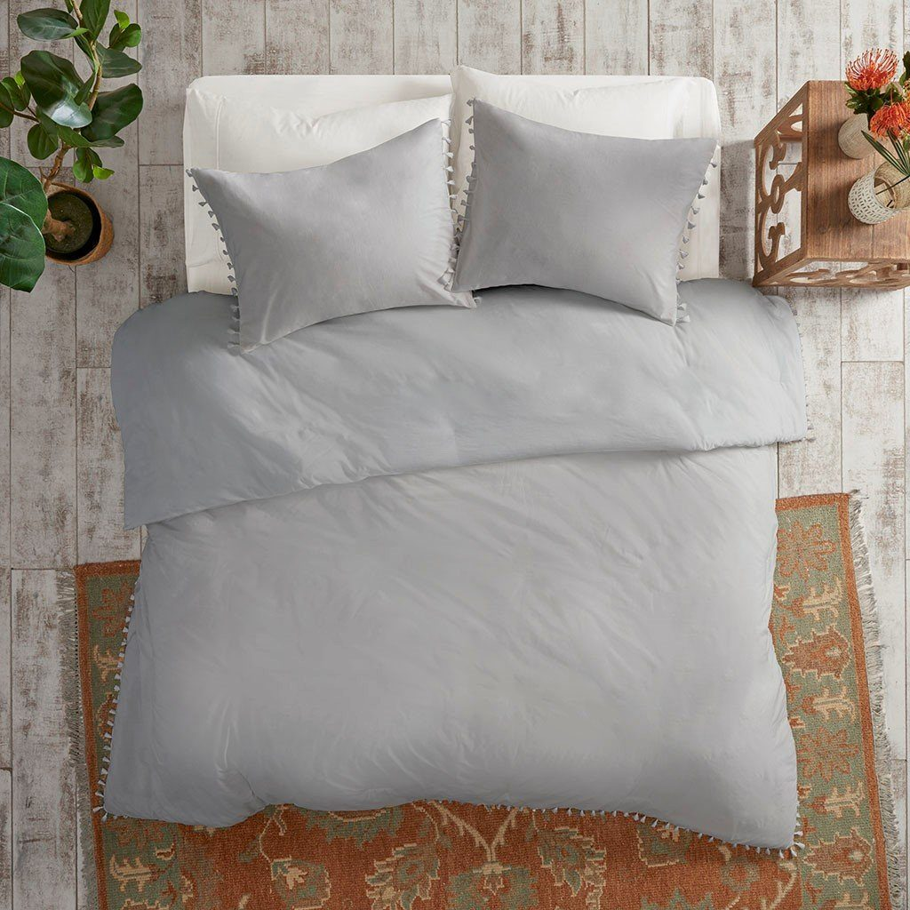 Isla Grey Tassel Duvet Set