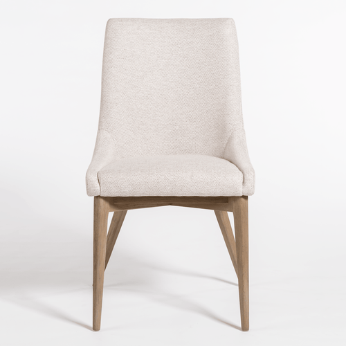 Neutral Upholstered Dining Chair with Wood Legs