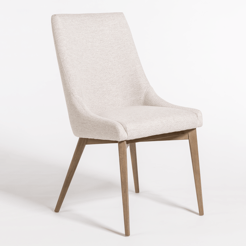 Cream Upholstered Dining Chair with Wood Legs