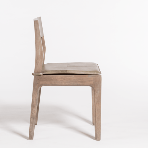 Kace Light Wood Dining Chair with Leather Seat Cushion