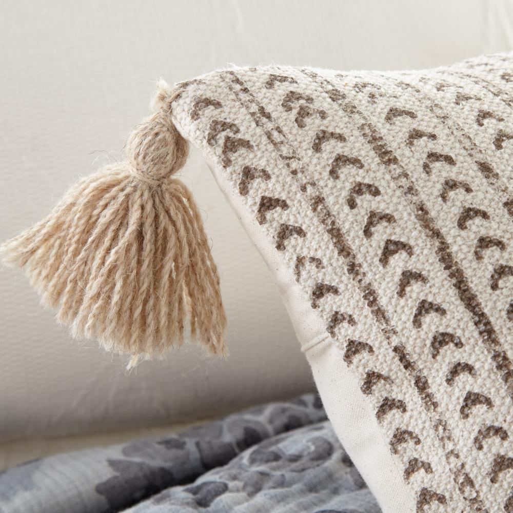 Amity Home Kavi XL Bolster Block Print Neutral Cream design with corner tassels Extra long lumbar pillow for bed