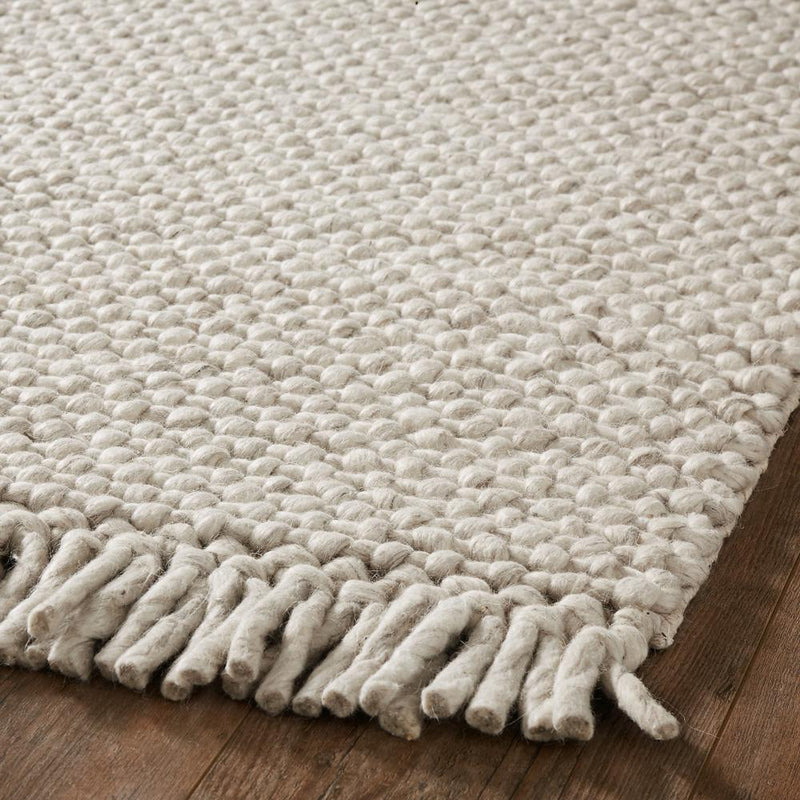 Neutral Woven Wool Rug with Fringe