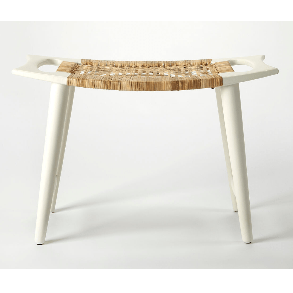 Lana White Accent Stool with Woven Cane Seat