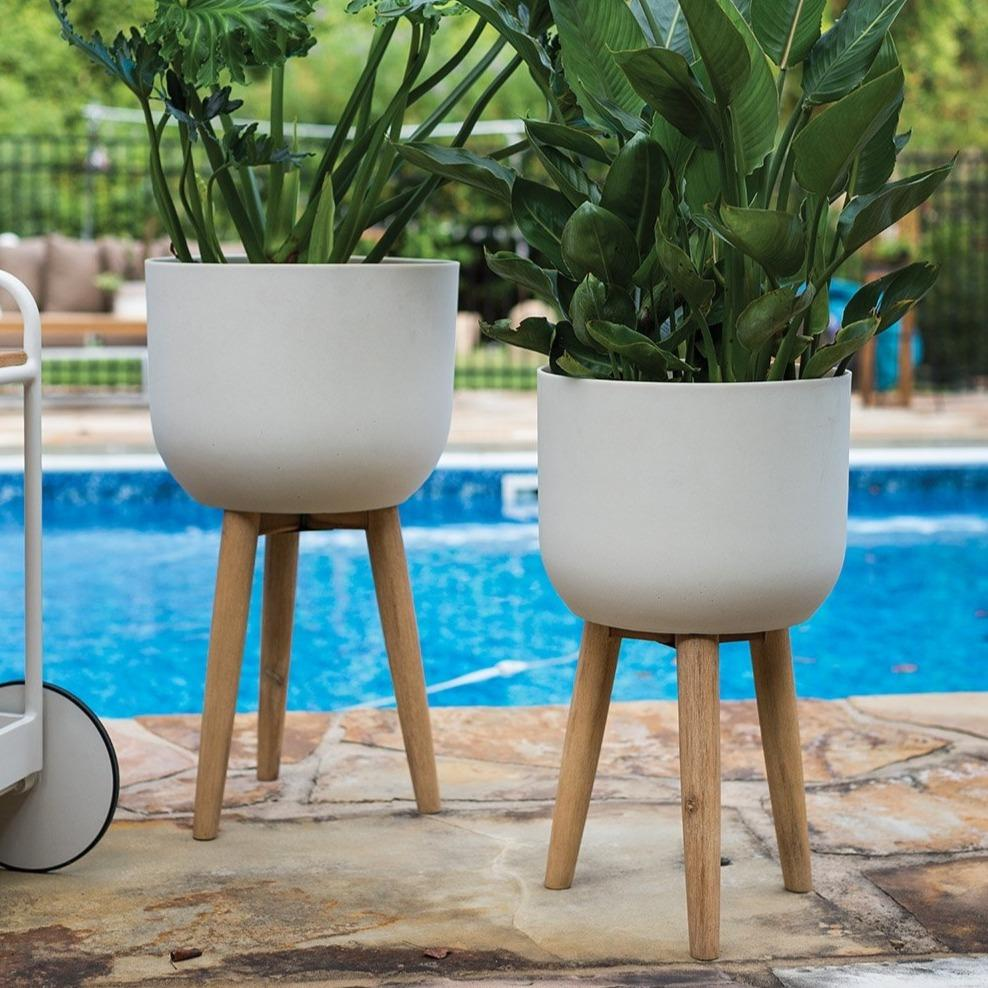 Landis Modern White and Wood Plant Stand