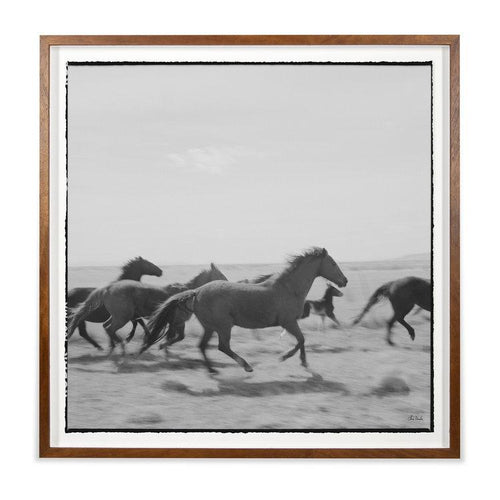 Chris Dunker Grand Image Home Landscape with horses running in black and white framed wall art