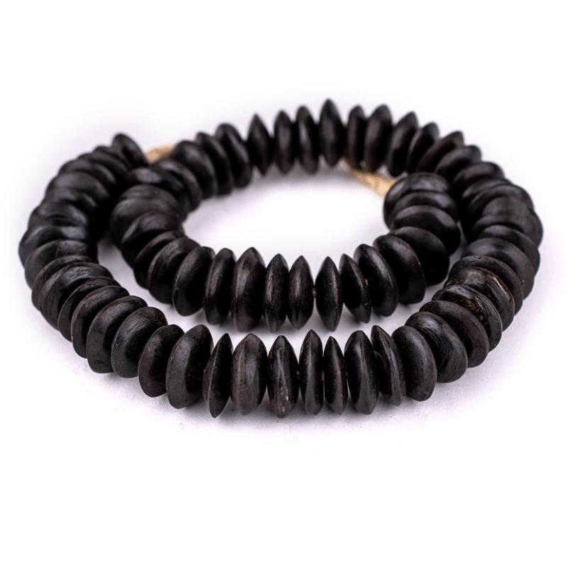 Large Black Bone Saucer Beads