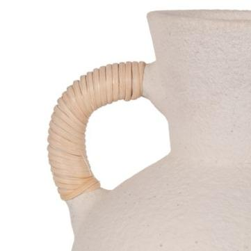 White Terracotta Lilou Vase with 2 Wrapped Handles