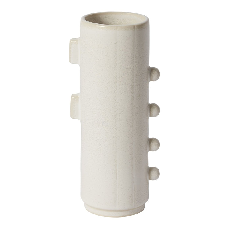 Lizzie Collection Accent Decor White Neutral Ceramic Vases with handles