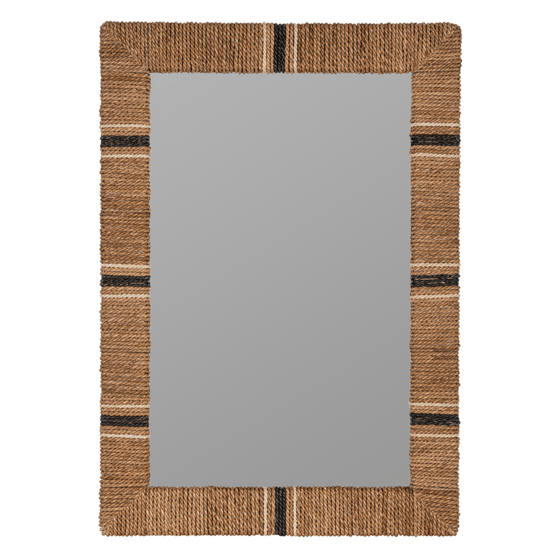 Louise Cooper Classics 41923 Wrapped Rope Rectangular Mirror in Natural with Stripes