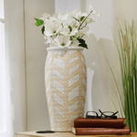 extra large decorative vase in white and beige with stripes in zig zag pattern modern