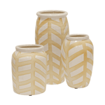 Decorative White Ceramic Vases - Set of 3