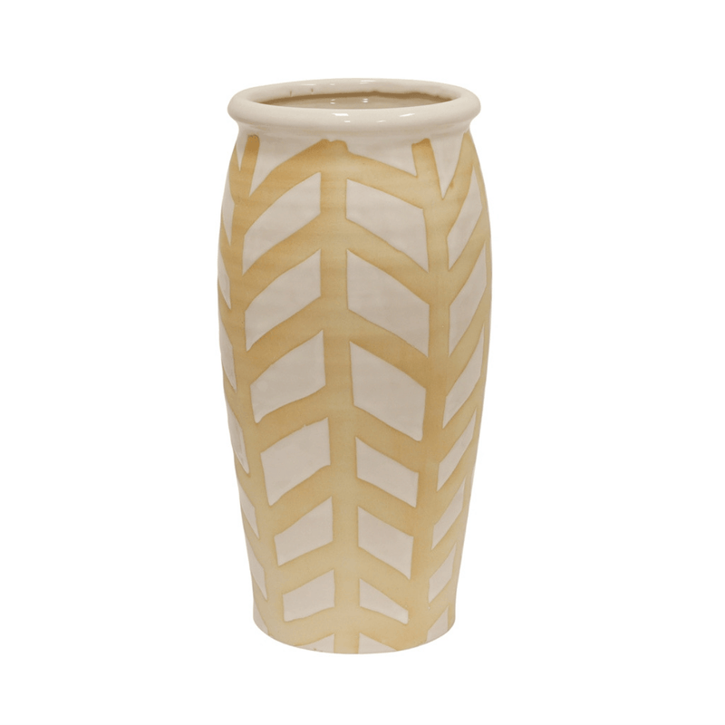 Extra large white and beige vase for flowers in chevron herringbone striped pattern