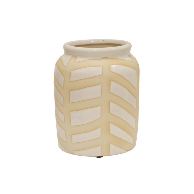 Jar shaped vase in white cream with beige stripe pattern and wide opening