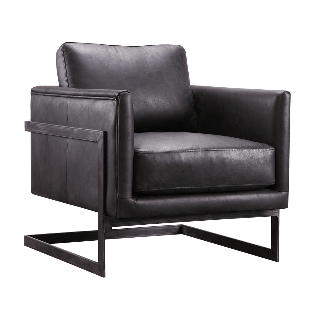 Lukas Club Chair in Black Leather