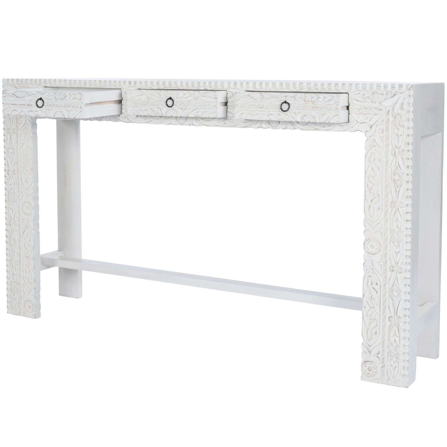 Magnolia White Washed Carved Wood Console Entry Table with three drawers Janta Butler Specialty 2069290