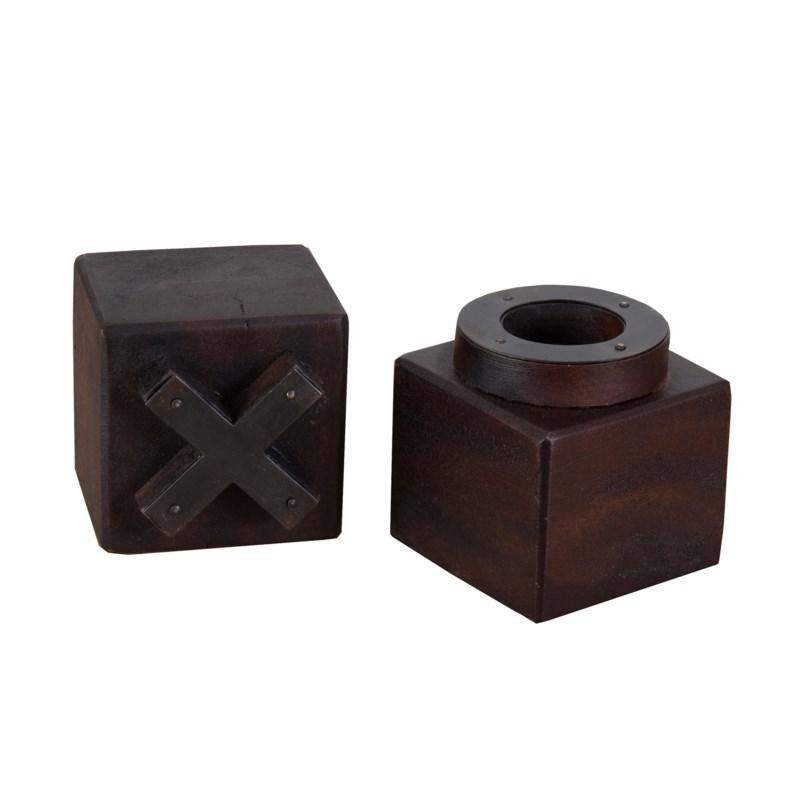 Square Dark Wood Tic Tac Toe Board Game Pieces for Home Decor