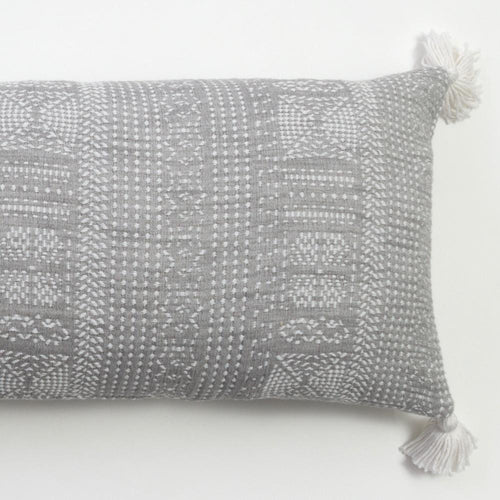 Amity Home Morse Grey XL Bolster Gray and white lumber pillow for bed with four corner tassels and embroidered stitch design extra long