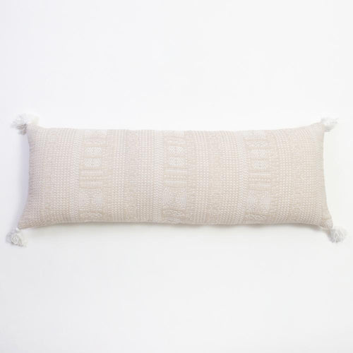 Morse Taupe XL Bolster Amity Home Natural and white lumbar pillow extra long bolster with embroidered design and corner tassels for bed