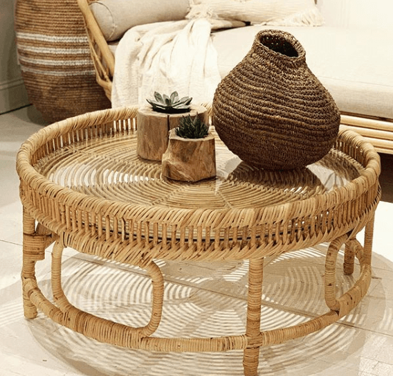 Marella Round Rattan Coffee Table with Glass Top
