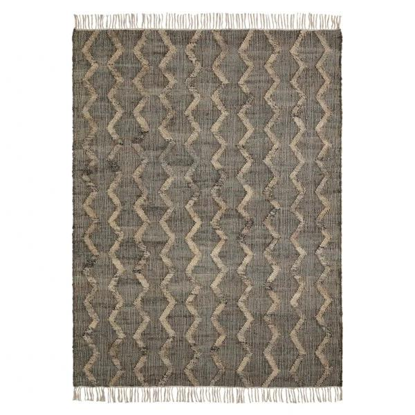 Brown Jute Striped Rug