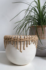 56235 56236 Hideaway Pot Accent Decor White and tan ceramic pots with rattan wrapped edge natural rope threaded bohemian decorative pots