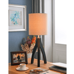 Brown Wood Tripod Lamp