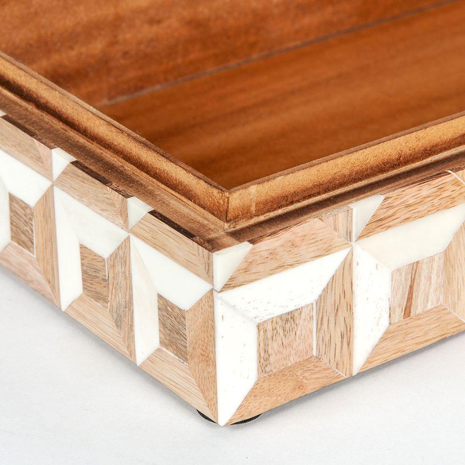 Up Close Detail of White and Wood Decorative Bone Boxes - Set of 2