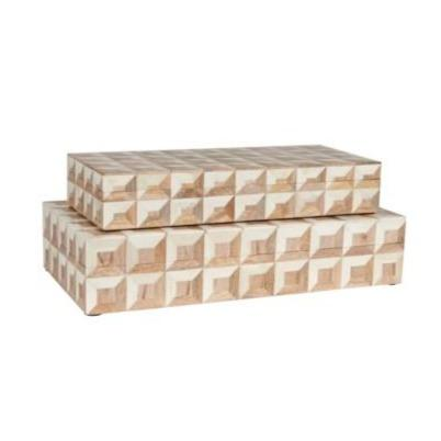 White and Wood Bone Decorative Boxes - Set of two