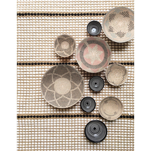 Set of 7 Assorted Woven Wall Baskets in Varying Sizes
