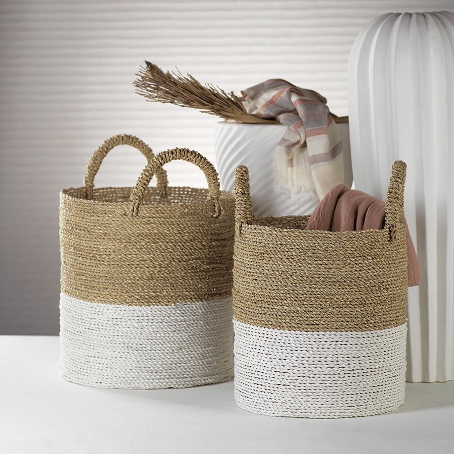 Nautural White Dipped Woven Seagrass Storage Baskets with Handles