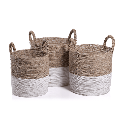 Set of 3 Woven Storage Baskets with White Dipped Bottom
