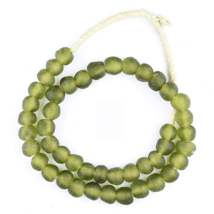 Olive Green Recycled Glass Decorative Beads