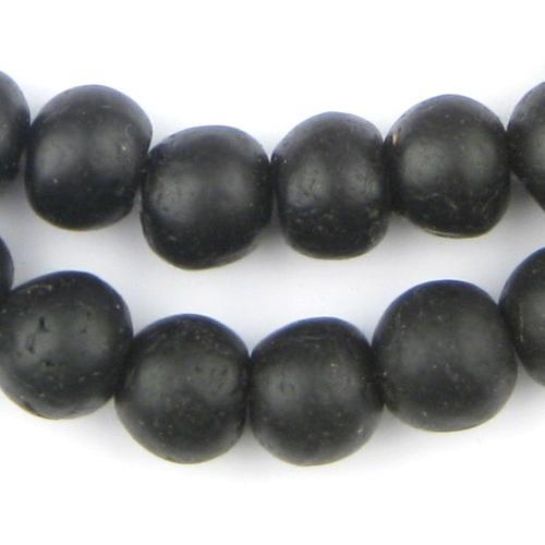 Opaque Black Recycled Glass Decorative Beads