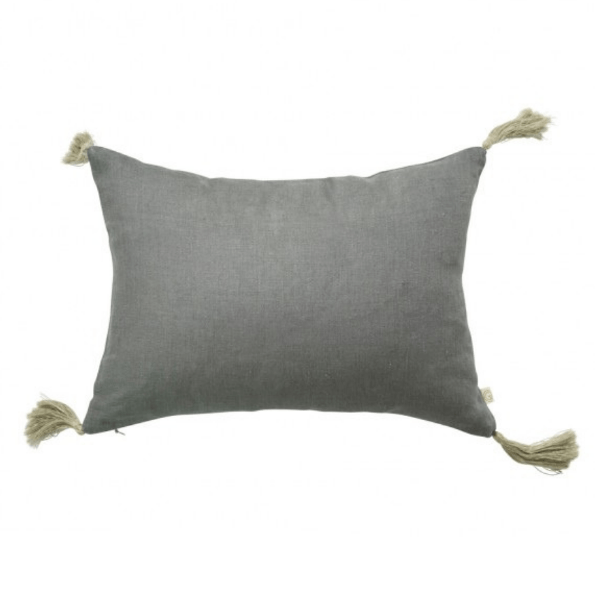 Small Gray Accent toss Lumbar Pillow with Natural Corner Tassels