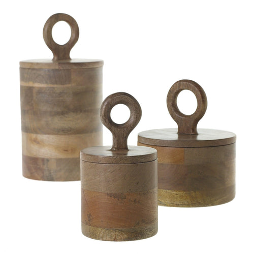 Mango Wood Lidded Kitchen Canister Set