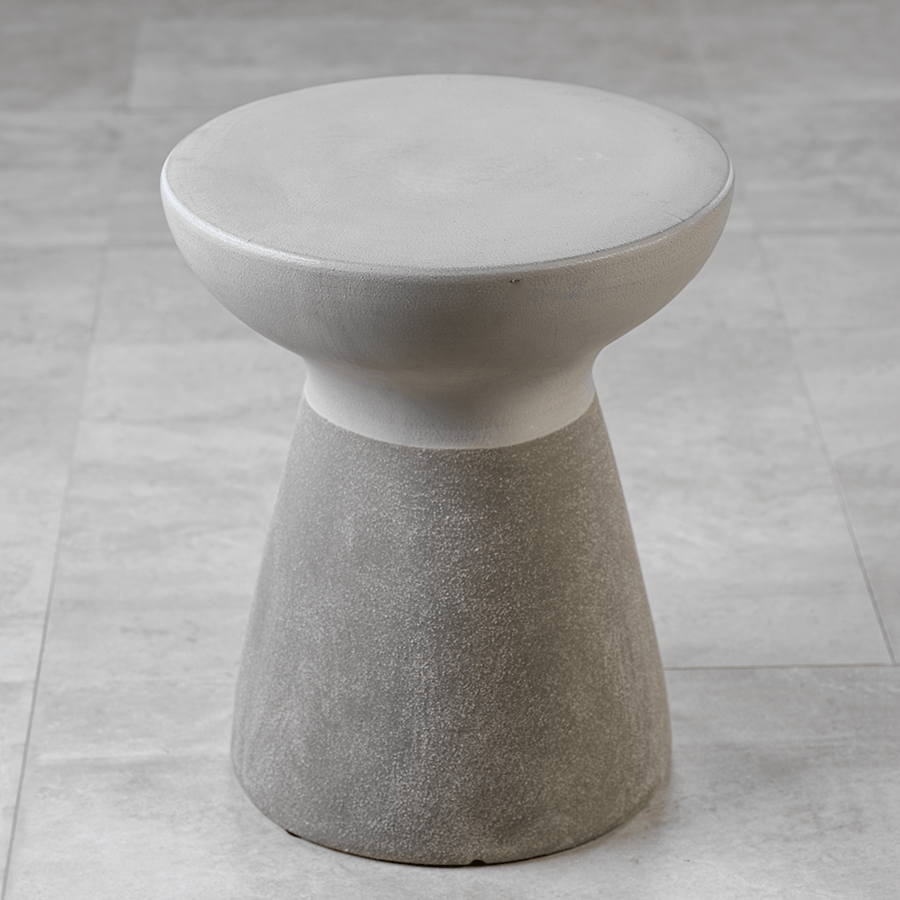 Concrete and White Hourglass Accent Stool