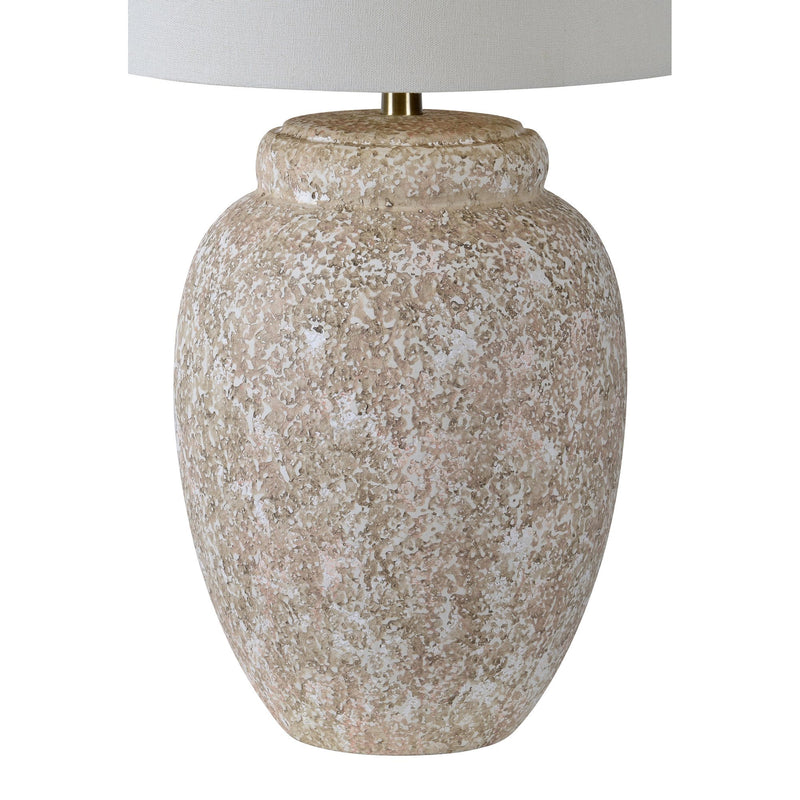 LPT1182 Wassily Renwil Ceramic Pottery Look Lamp Large Texturized Lamp Beige Vase Lamp 2