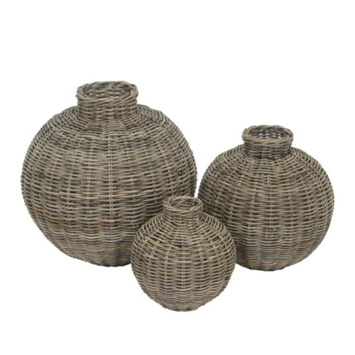 Set of 3 Round Rattan Belly Vases - Wicker Coastal Decor Items