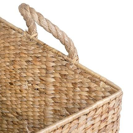 Natural Woven Rectangular Baskets with Rope Handles