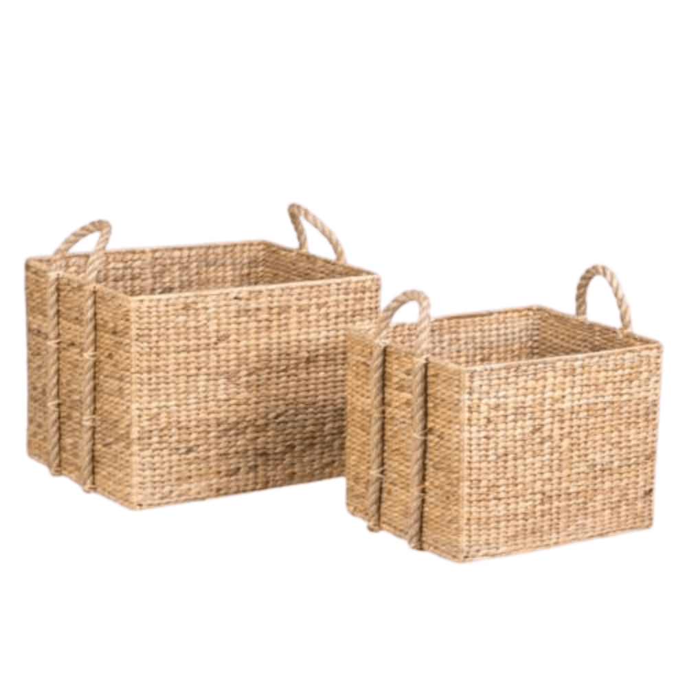 water hyacinth woven seagrass rectangular baskets set of 2 storage