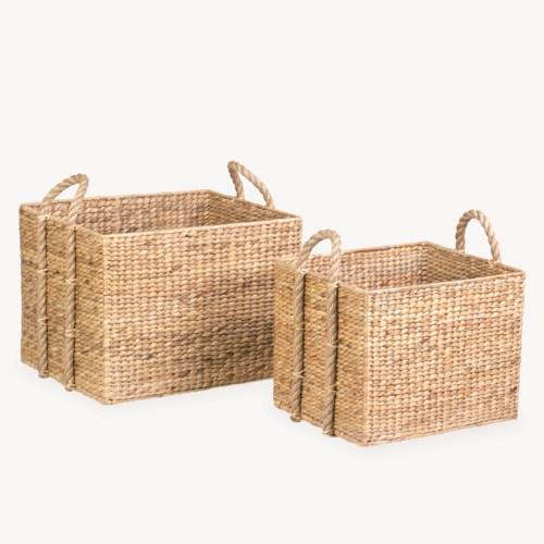 Set of 2 Large Rectangular Woven Storage Baskets