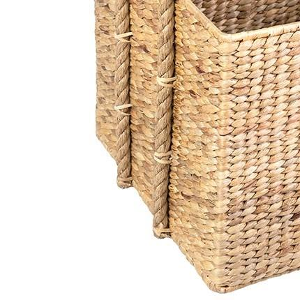 Woven Rectangular Natural Baskets with Rope Handles