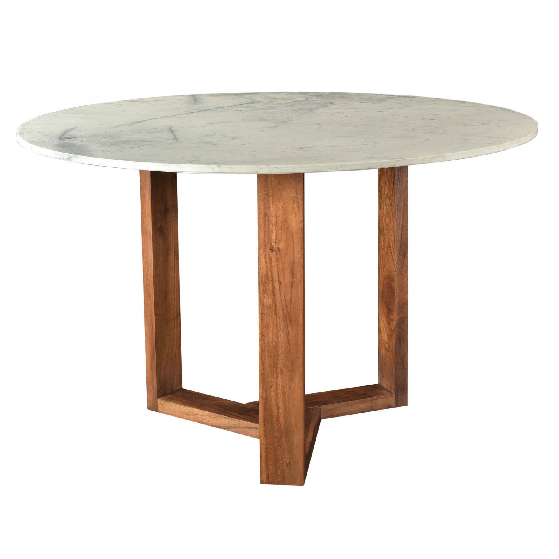 Rio Round Marble Dining Table with Wood Base