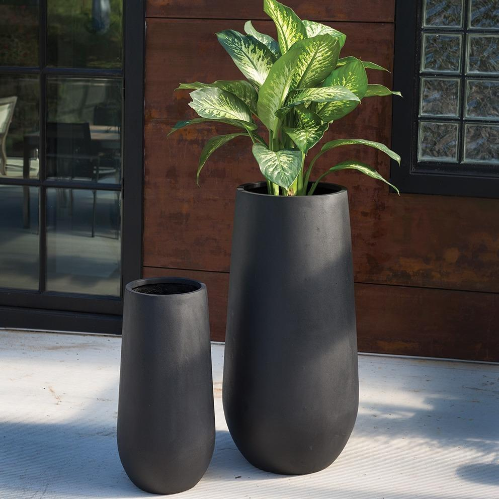 Sancerro Large Tall Black Skinny Outdoor Planter
