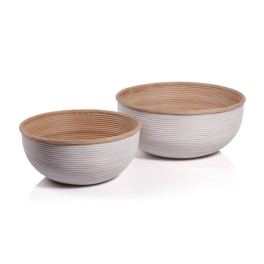 Natural Rattan and White Large Bowl Basket Set