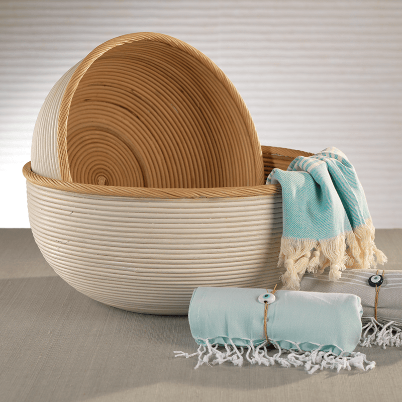 Natural Rattan and White Rattan Wood Storage Baskets