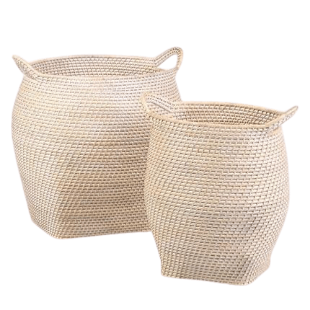 Two large woven wicker white wash light wood rattan storage basket set of 2 woven raffia laundry basket nesting with handles